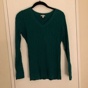 Talbots Cable Knit V Neck Sweater